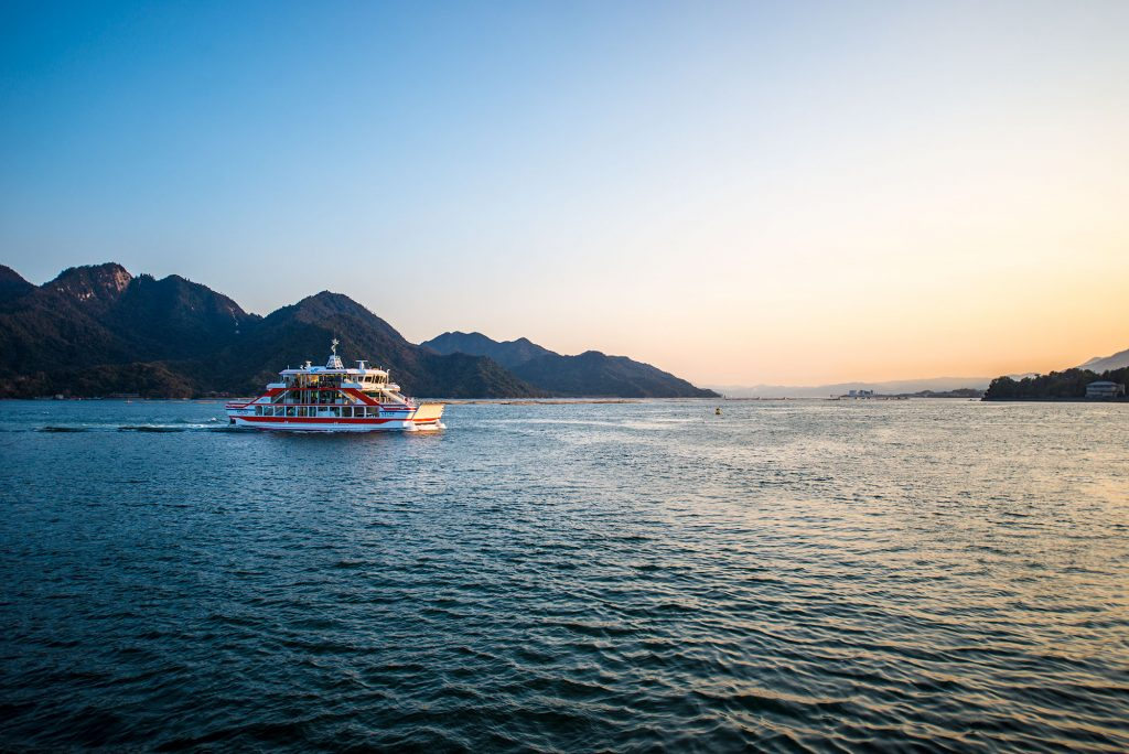 Approaching Miyajima island as the sunsets