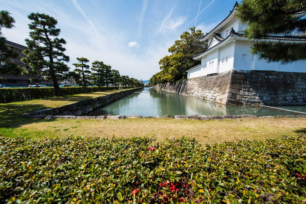 The moat that surrounds Nijo castle