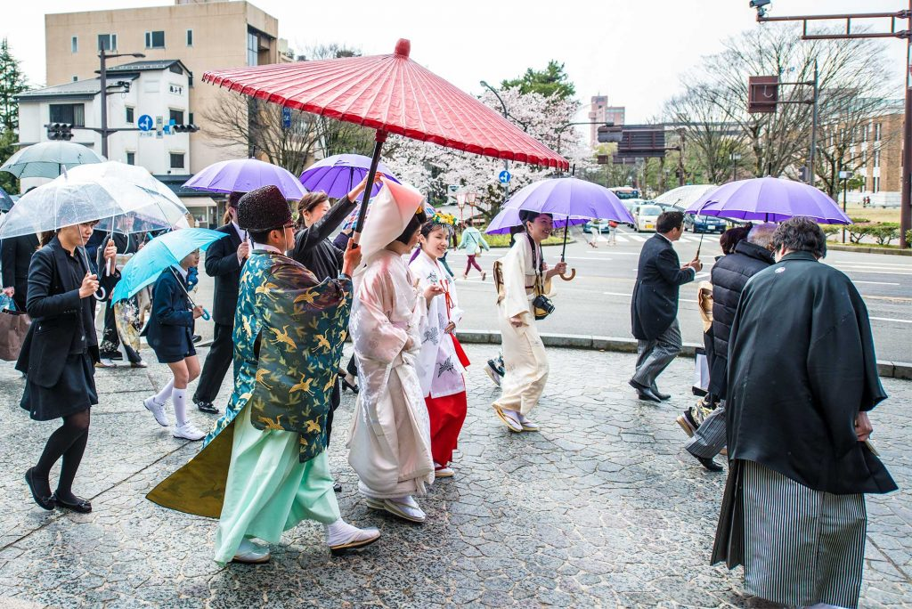 We were lucky to encounter a traditional Japanese Wedding enroute to the Cherry Blossoms by Kanazawa Castle